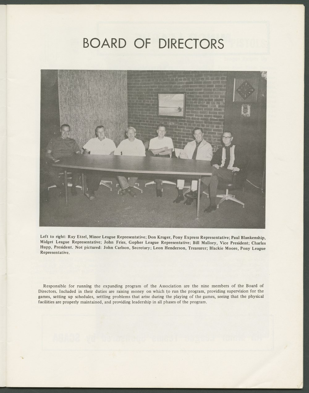 1969 SCABA baseball yearbook, Topeka, Kansas - 5