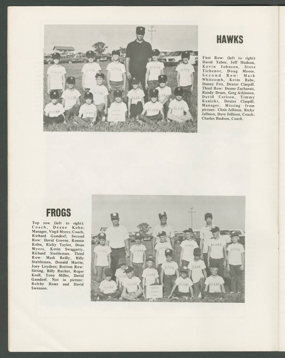 1969 SCABA baseball yearbook, Topeka, Kansas - 8
