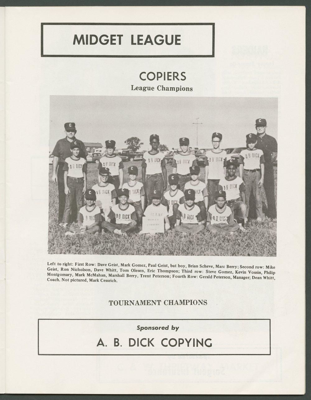 1969 SCABA baseball yearbook, Topeka, Kansas - 11