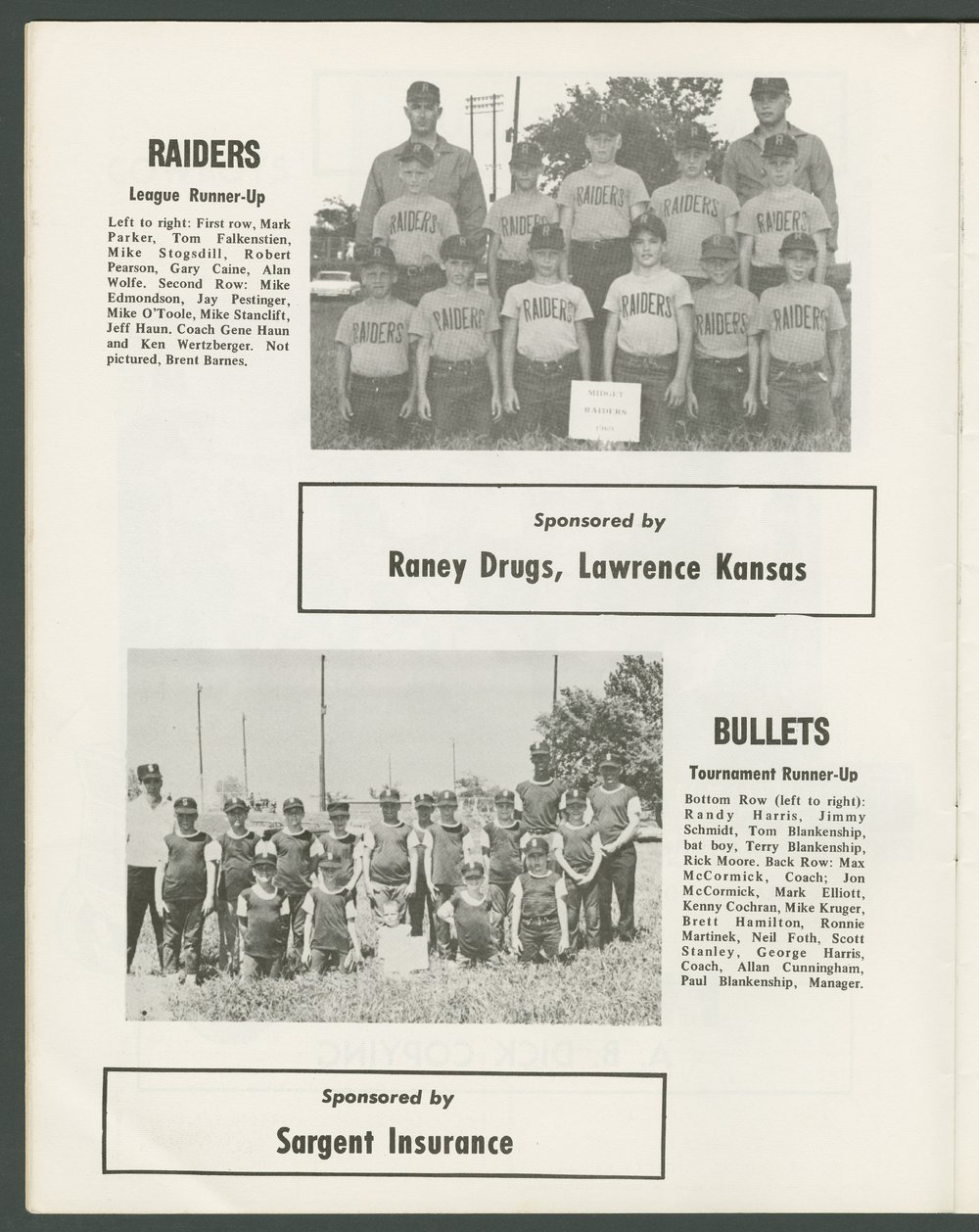 1969 SCABA baseball yearbook, Topeka, Kansas - 12
