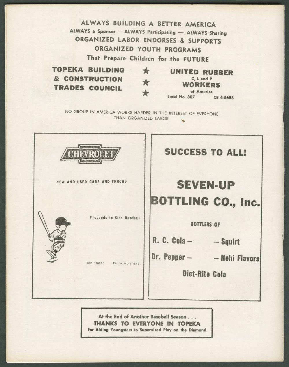 1969 SCABA baseball yearbook, Topeka, Kansas - 48