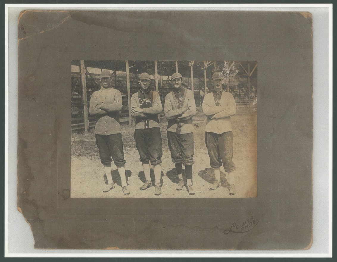 Wiley Taylor and three other baseball players in Ellsworth, Kansas - 1