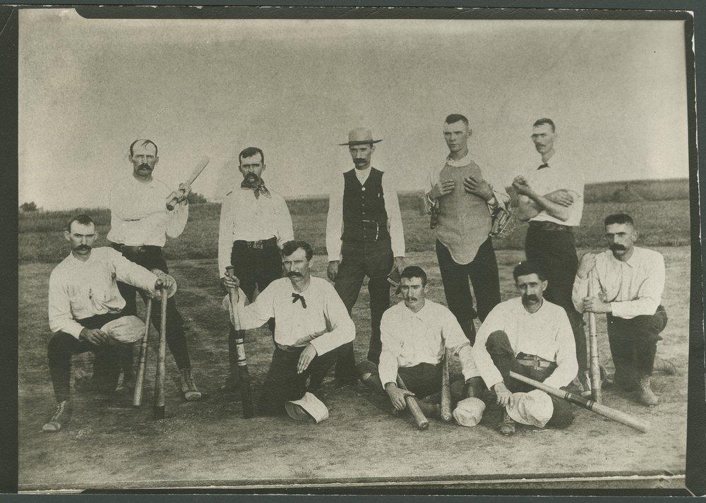 Fred Choteau Campbell and baseball team - 1