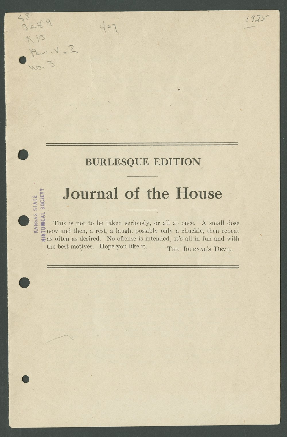 Burlesque Edition Journal of the House - Title