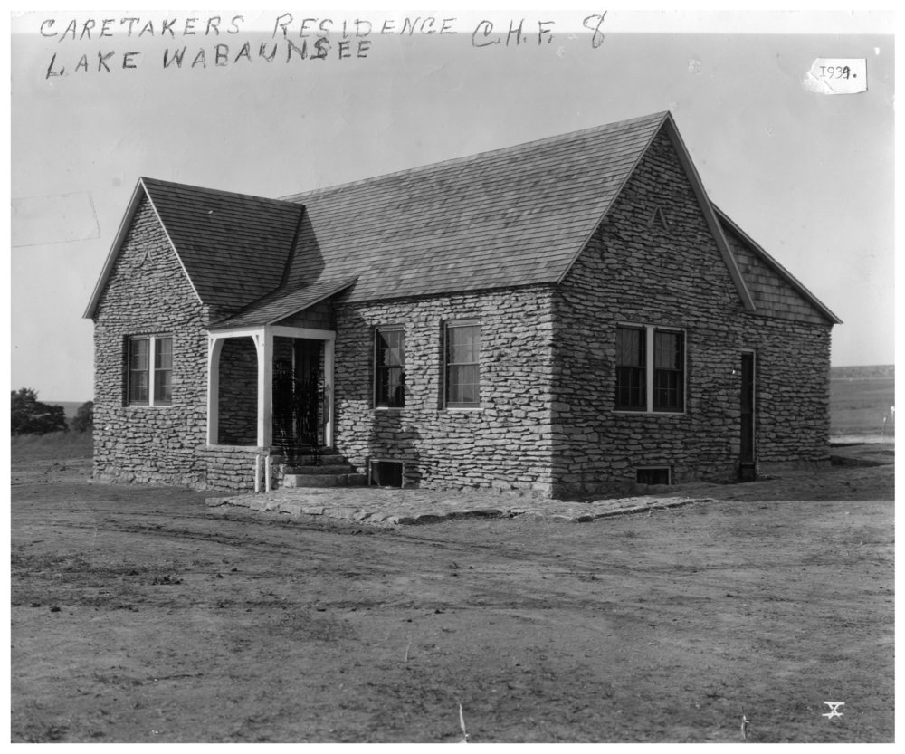 Kansas Emergency Relief Committee transient camp at Lake Wabaunsee - Caretaker's house at Lake Wabaunsee was built in 1934 and burned on December 5, 1936.