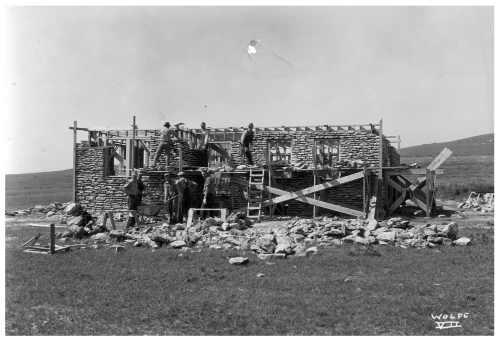 Kansas Emergency Relief Committee transient camp at Lake Wabaunsee - Workers constructing the Caretaker's house at the lake site.