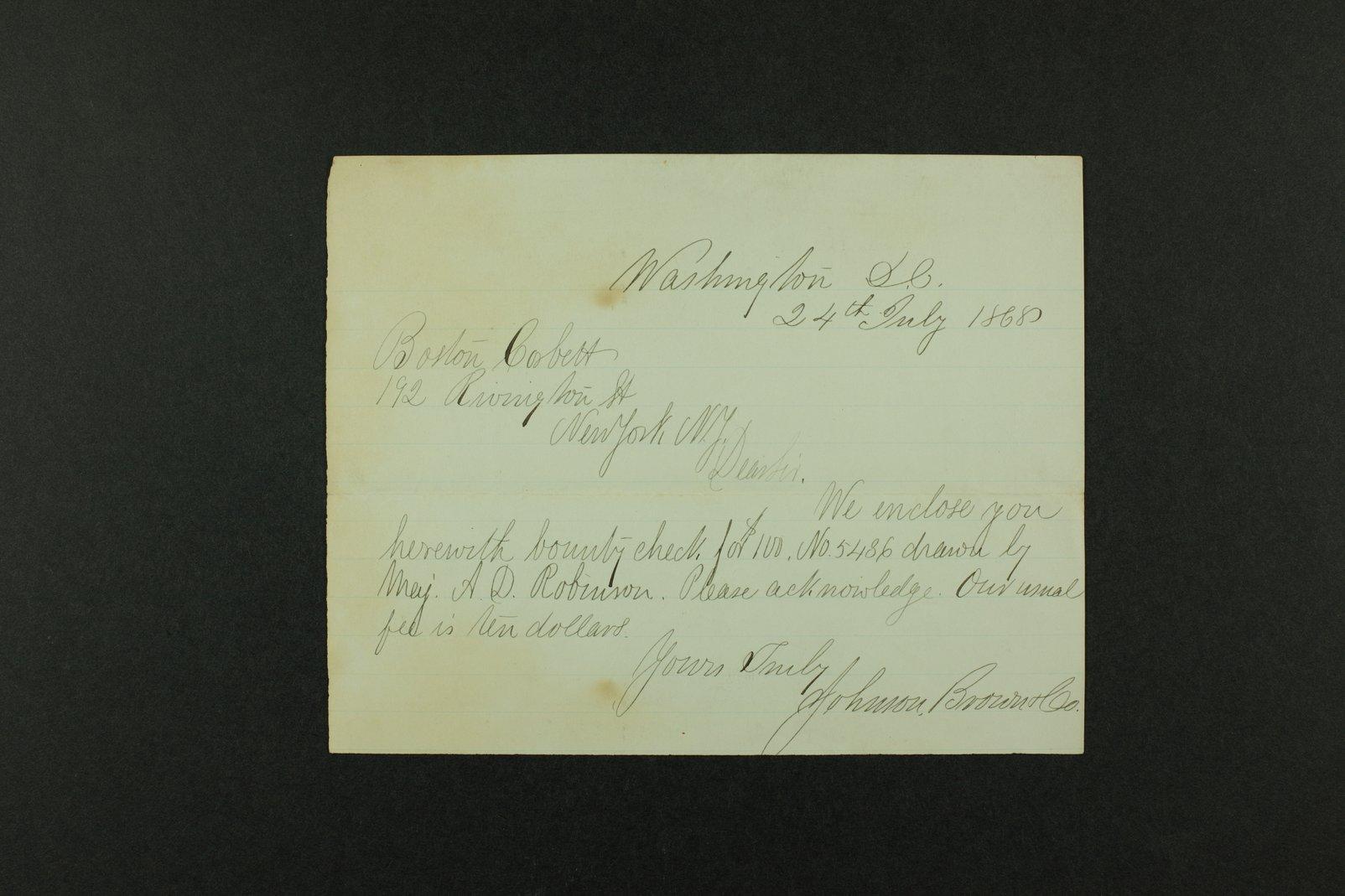 Boston Corbett correspondence - 1 [Folder 2. 1868]