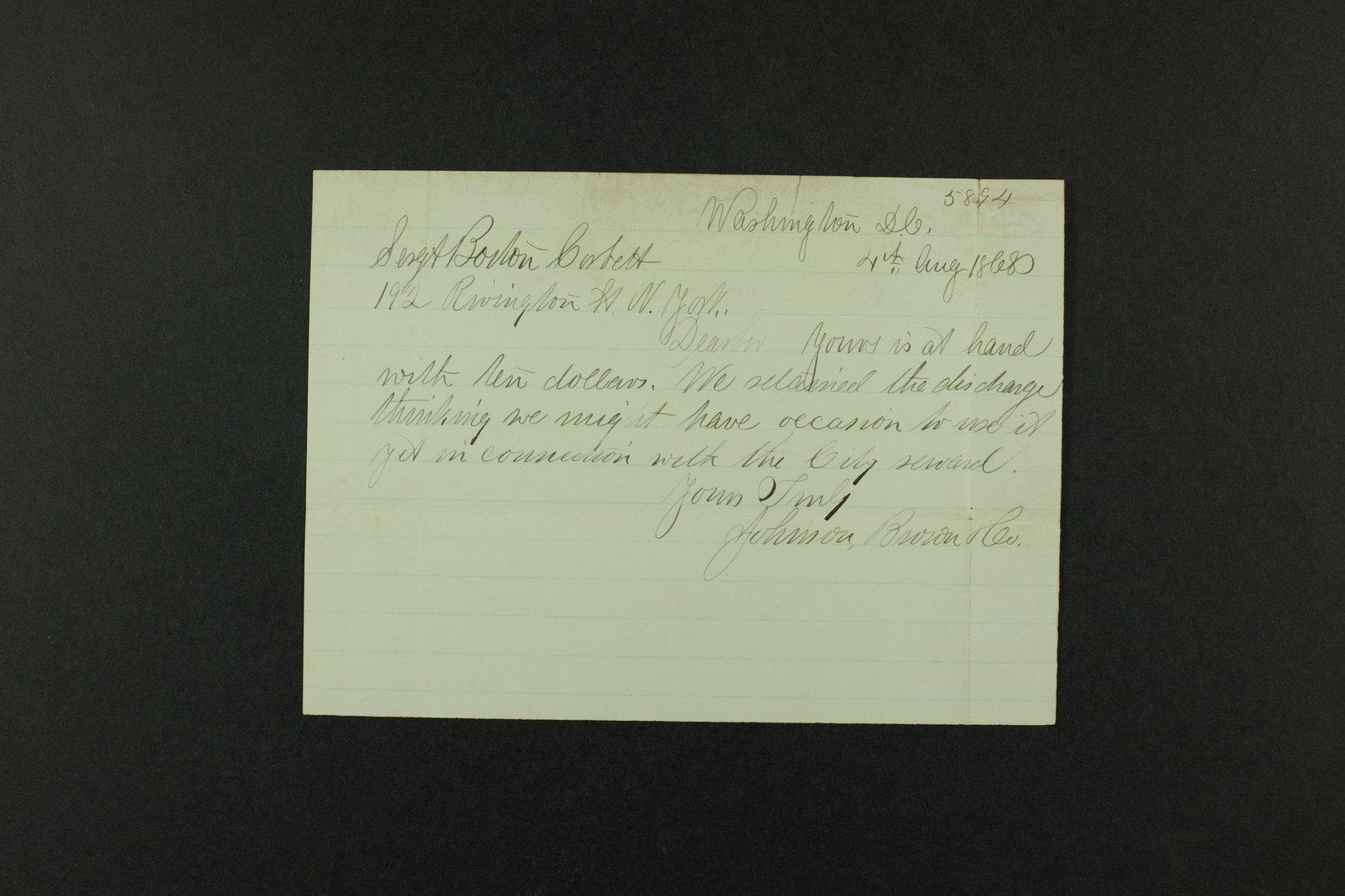 Boston Corbett correspondence - 2