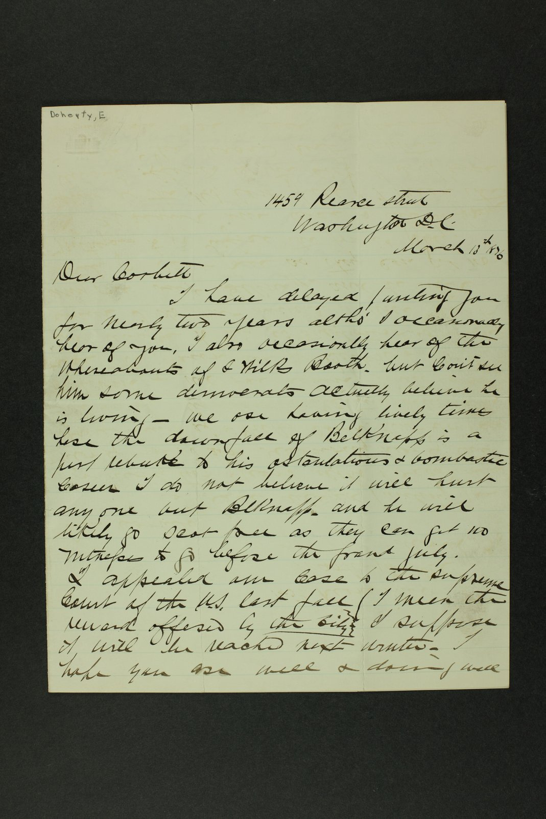 Boston Corbett correspondence - 1 [Folder 4. 1876]
