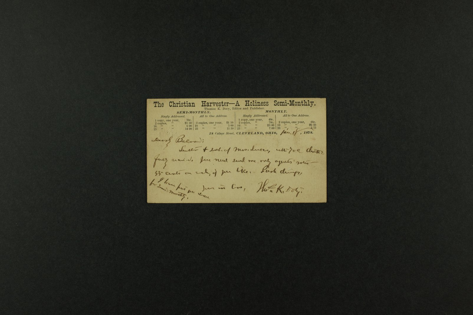 Boston Corbett correspondence - 2