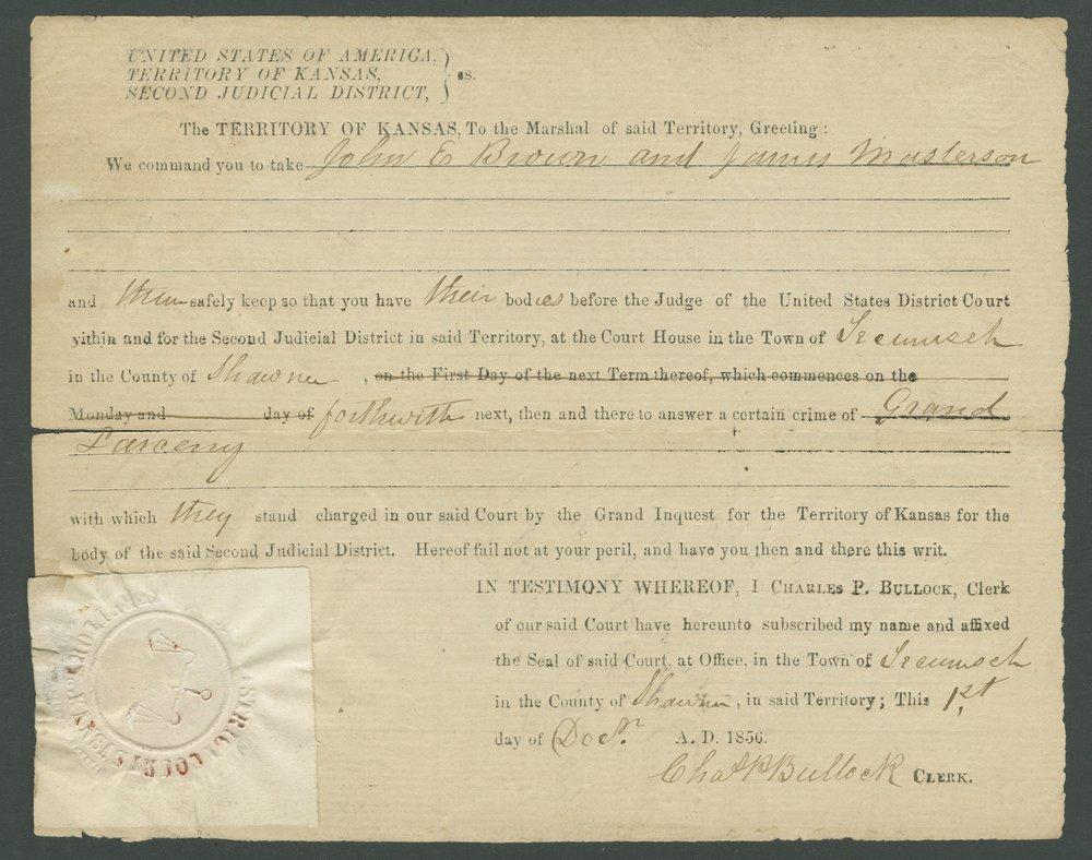 Kansas Territory versus John E. Brown, James Masterson, and John Broils - 1