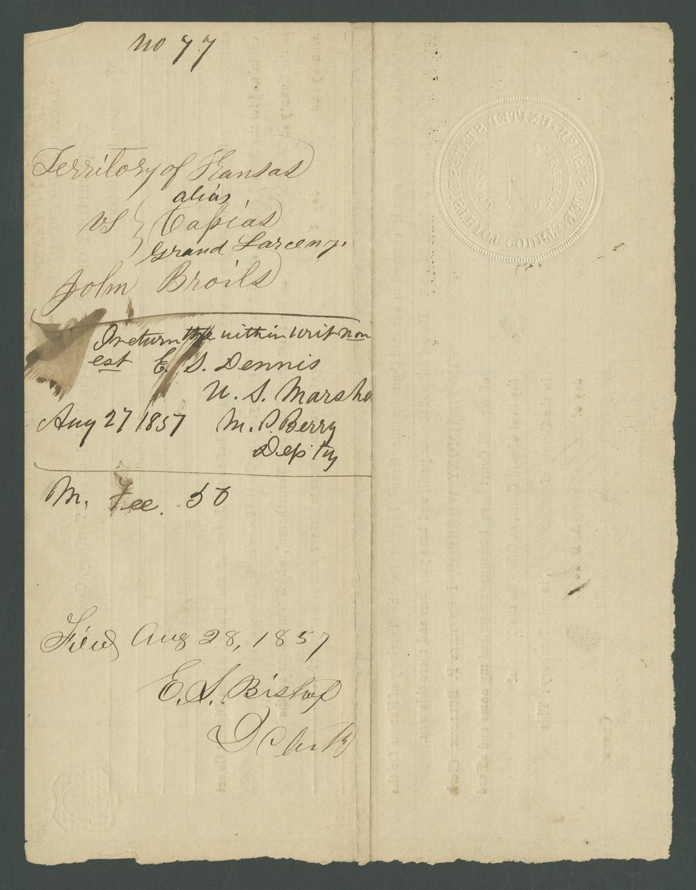 Kansas Territory versus John E. Brown, James Masterson, and John Broils - 8