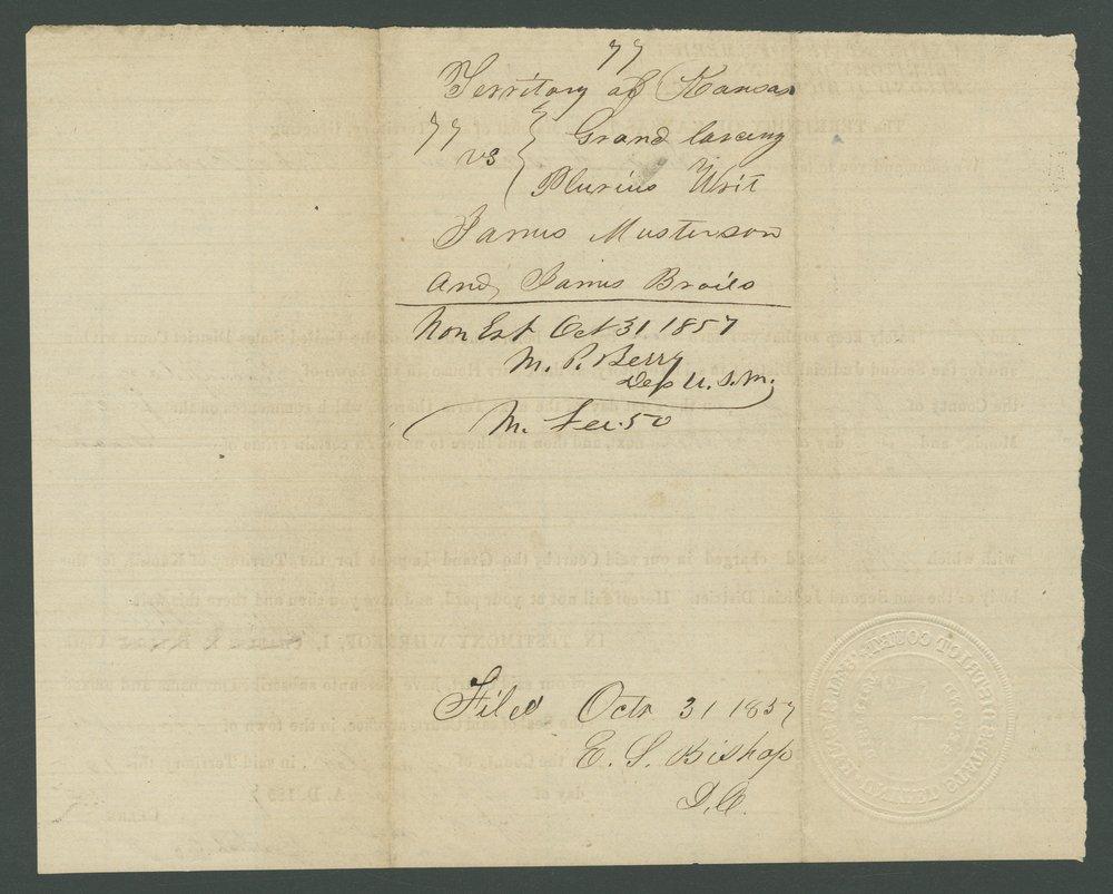 Kansas Territory versus John E. Brown, James Masterson, and John Broils - 10