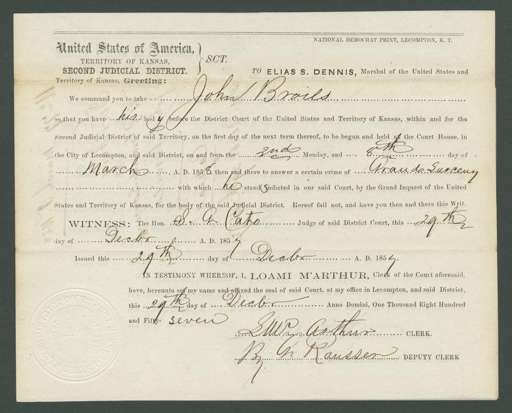 Kansas Territory versus John E. Brown, James Masterson, and John Broils - 13