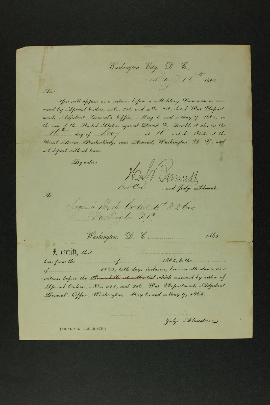 Boston Corbett's military documents - 4