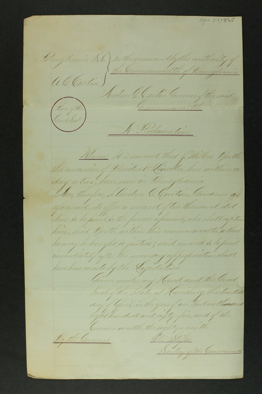 Proclamation by Pennsylvania Governor Andrew G. Curtin after President Lincoln's assassination - 1