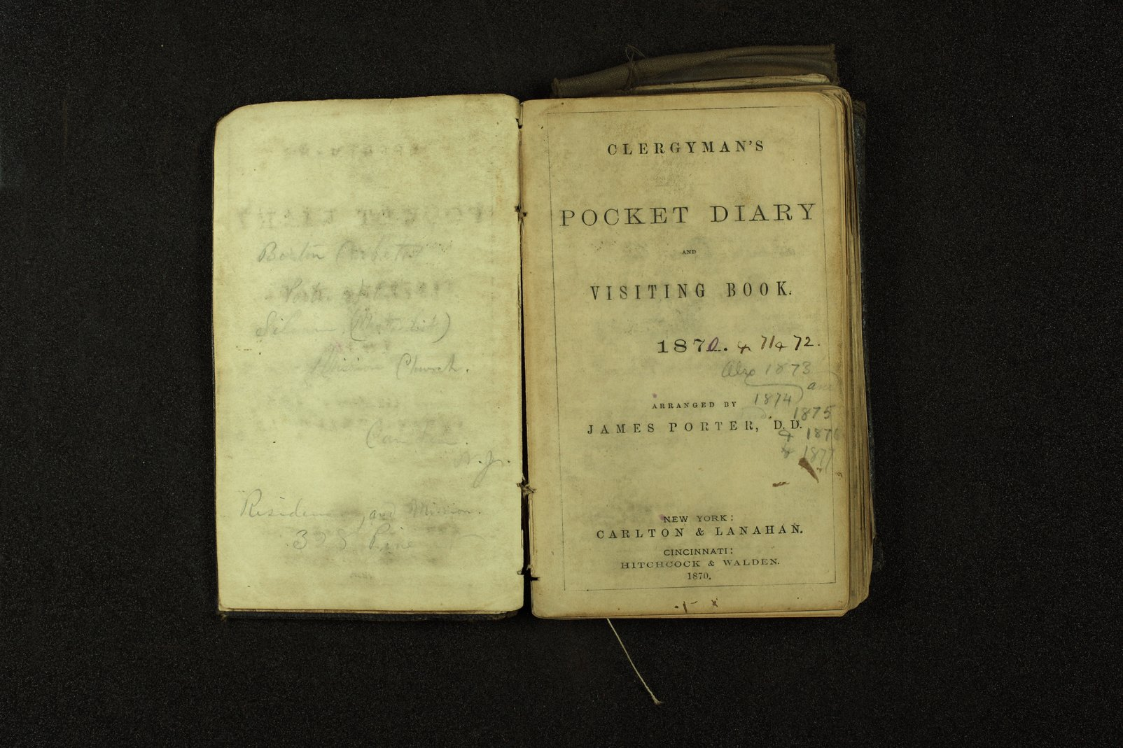 Clergyman's pocket diary and visiting book belonging to Boston Corbett - 1