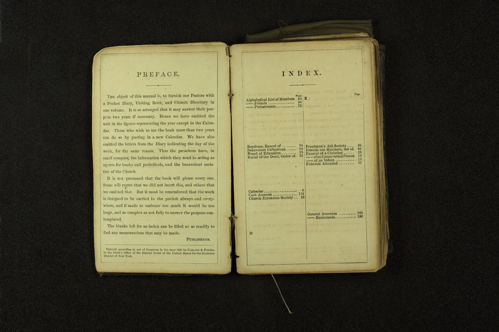 Clergyman's pocket diary and visiting book belonging to Boston Corbett - 2 & 3