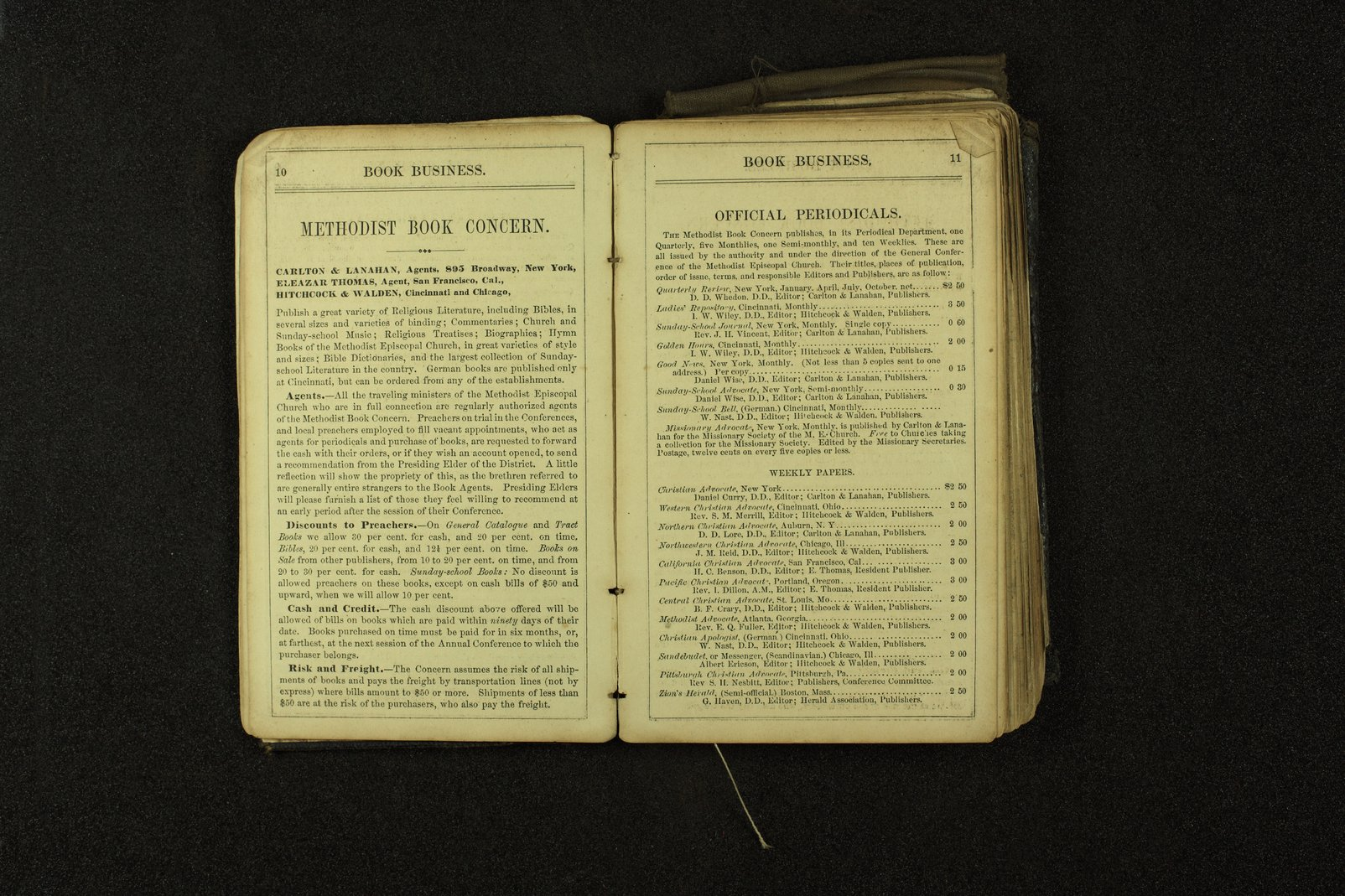 Clergyman's pocket diary and visiting book belonging to Boston Corbett - 10 & 11