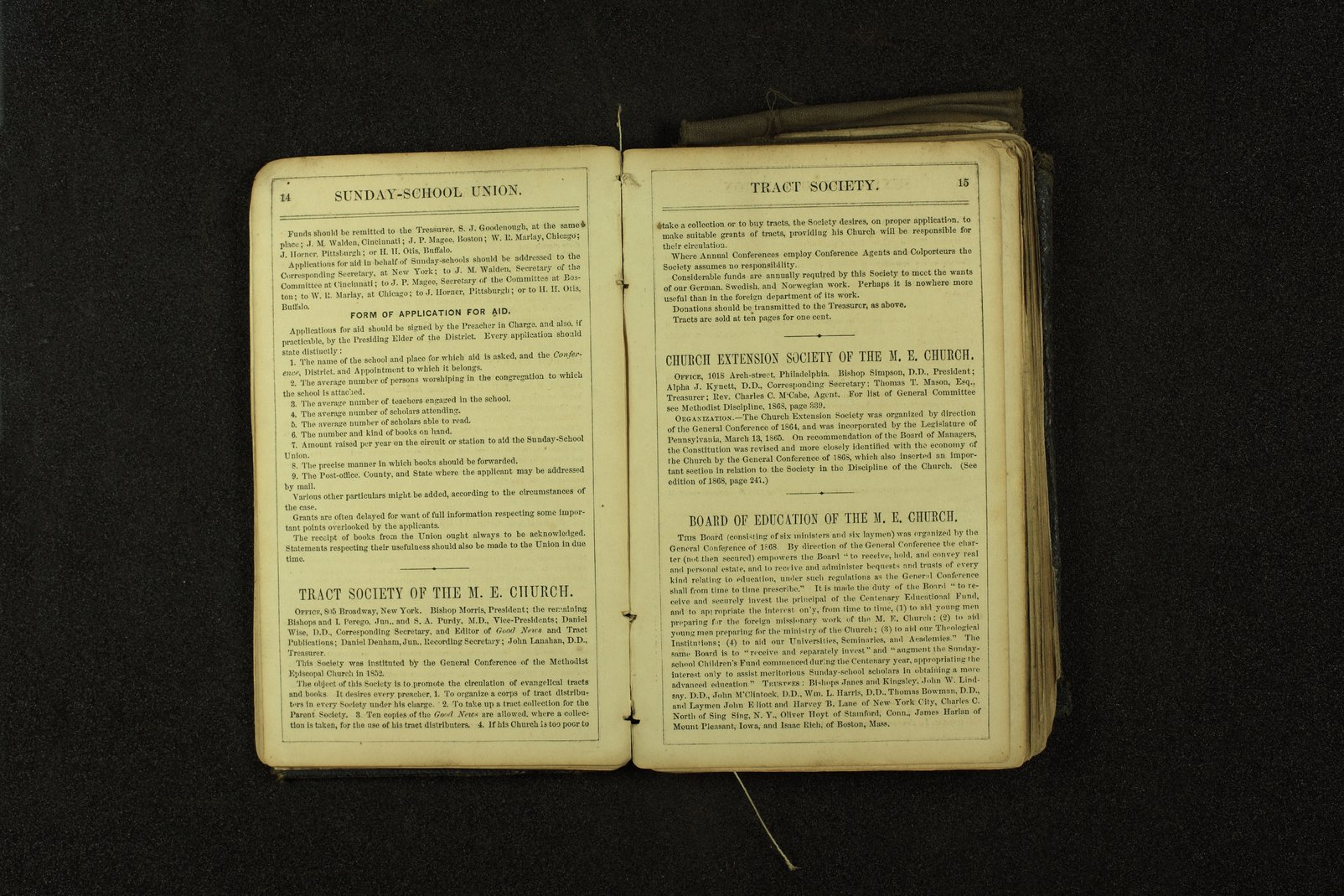 Clergyman's pocket diary and visiting book belonging to Boston Corbett - 14 & 15