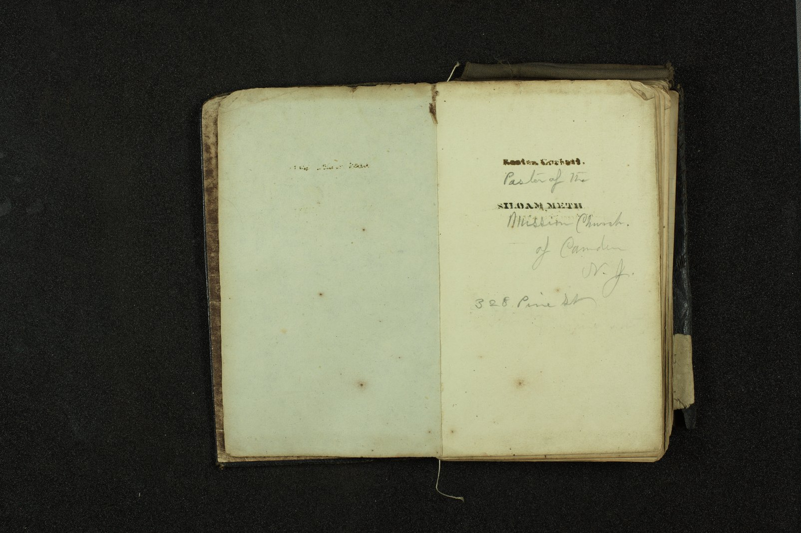 Clergyman's pocket diary and visiting book belonging to Boston Corbett - Notes