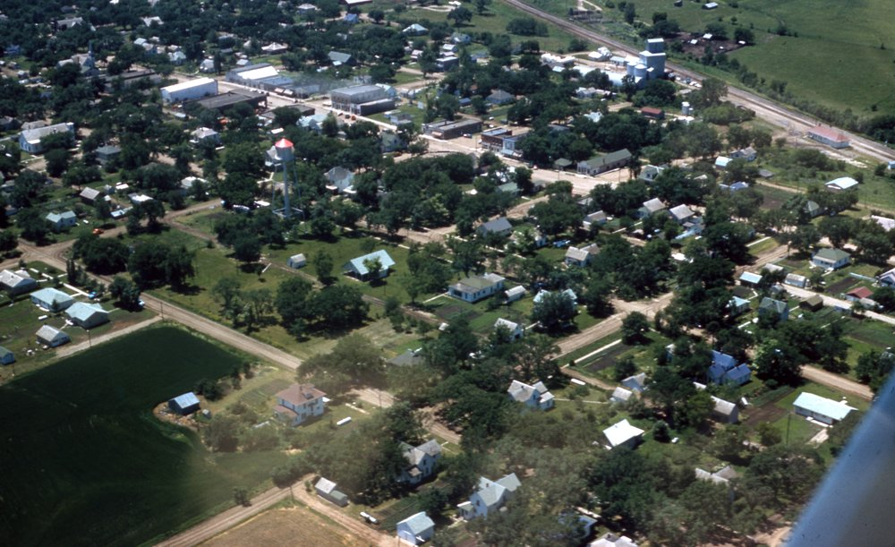 Charles Herman photograph collection - Aerial view of an unidentified town.