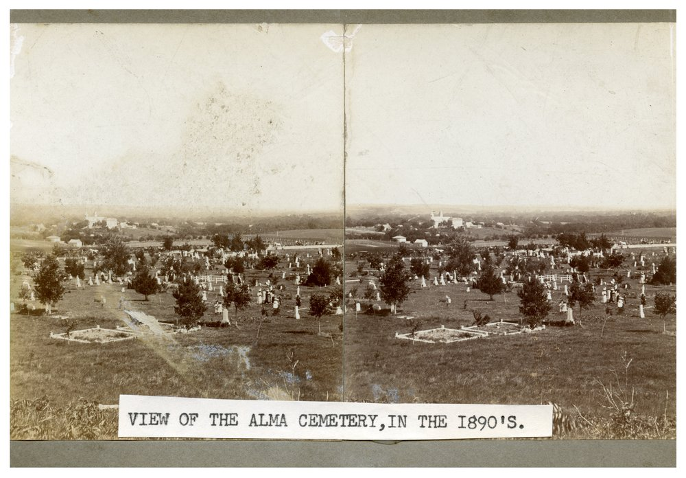 Gus Meier photograph collection - Stereoview looking east across the Alma cemetery.