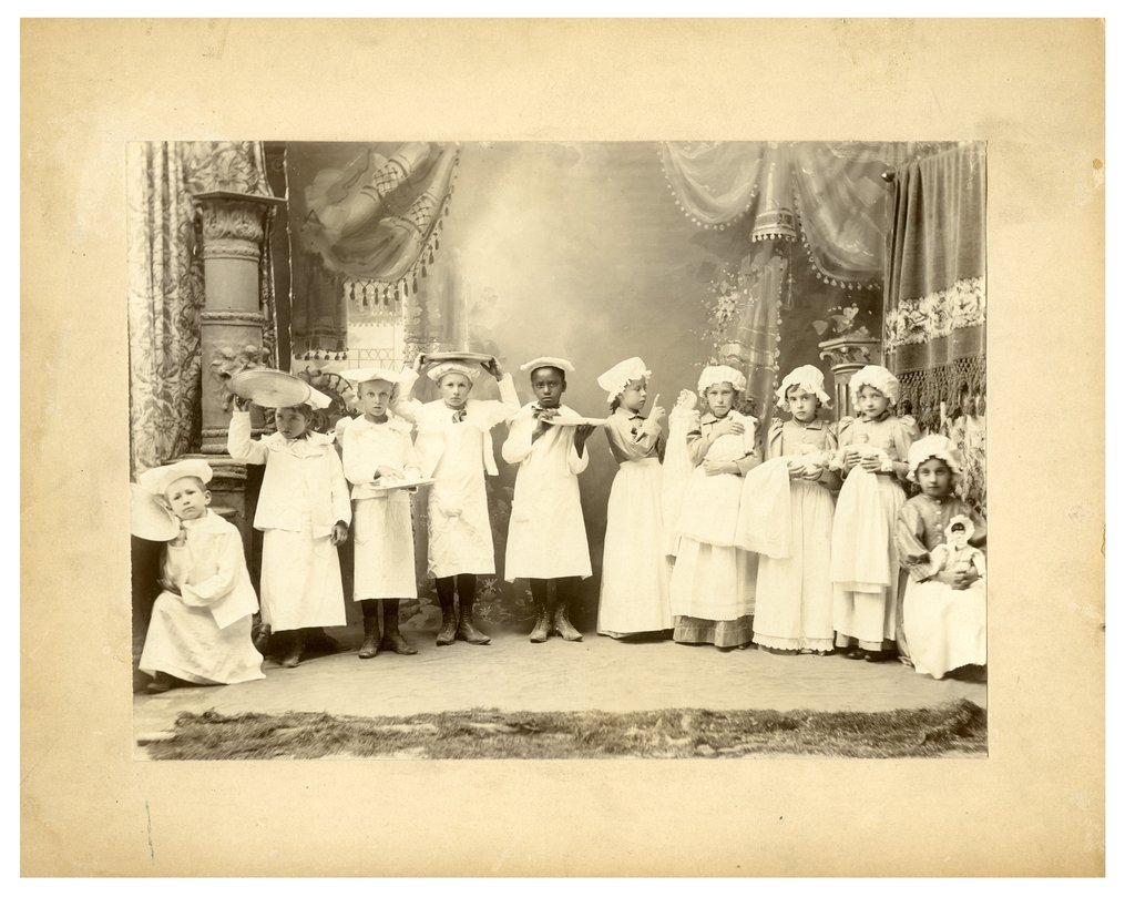 Gus Meier photograph collection - Group of Alma school children in theatrical performance.