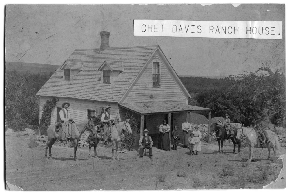Gus Meier photograph collection - Chet Davis' ranch house in the 1890s. The Davis Brothers Ranch owned 1,280 acres of land and 6,000 head of cattle.