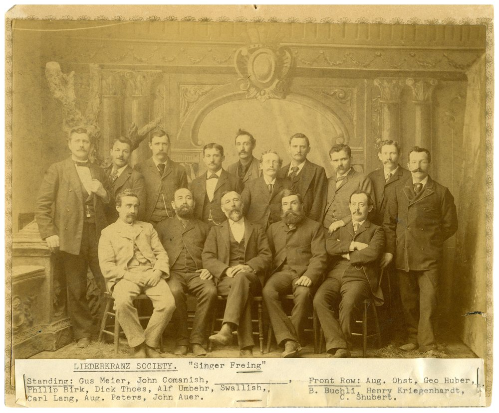 Gus Meier photograph collection - Members of the Liederkranz Society, a fraternal organization dedicated to preserving German culture, pose for a portrait in Alma in the 1890s.