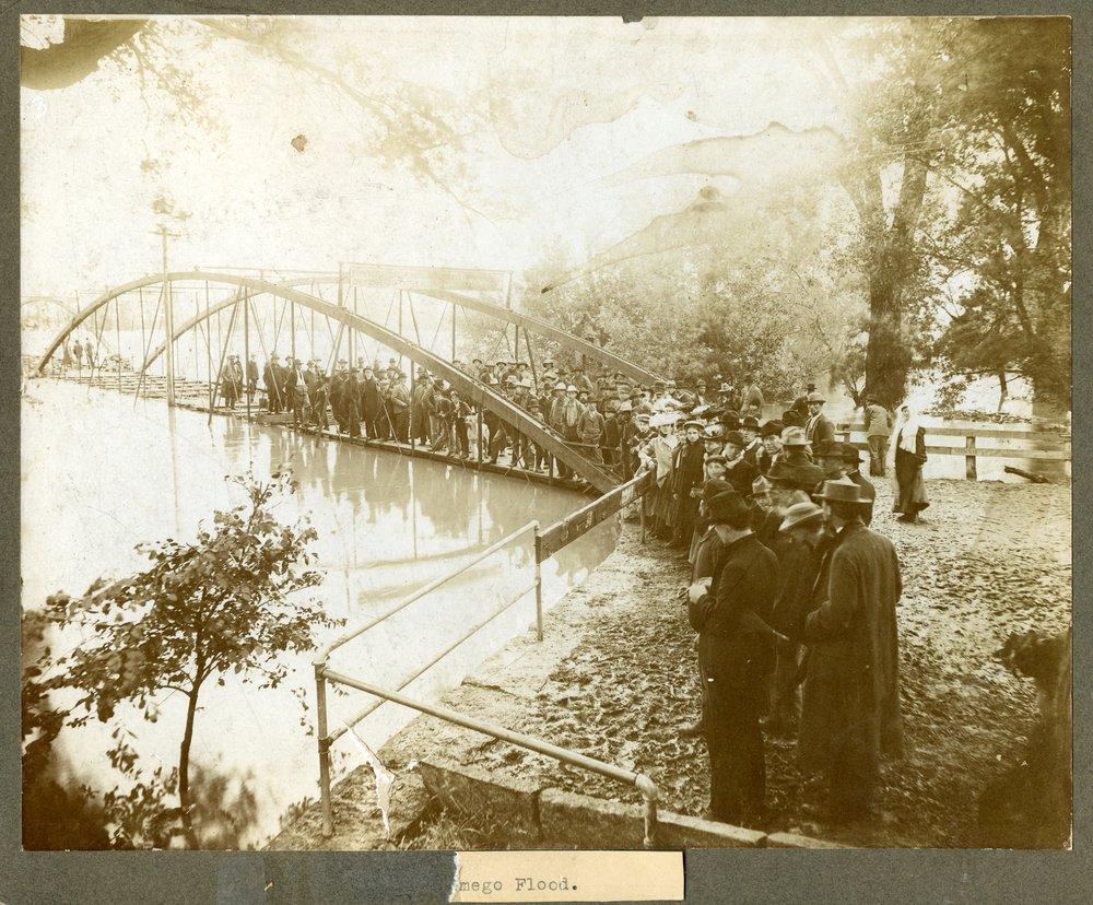 Bridge over the flooded Kaw River in Wamego, Kansas - 1