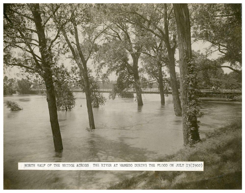Bridge over the flooded Kaw River in Wamego, Kansas - 2
