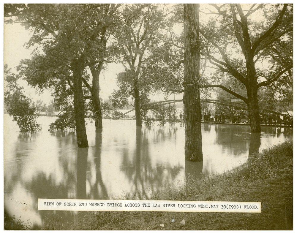 Bridge over the flooded Kaw River in Wamego, Kansas - 3