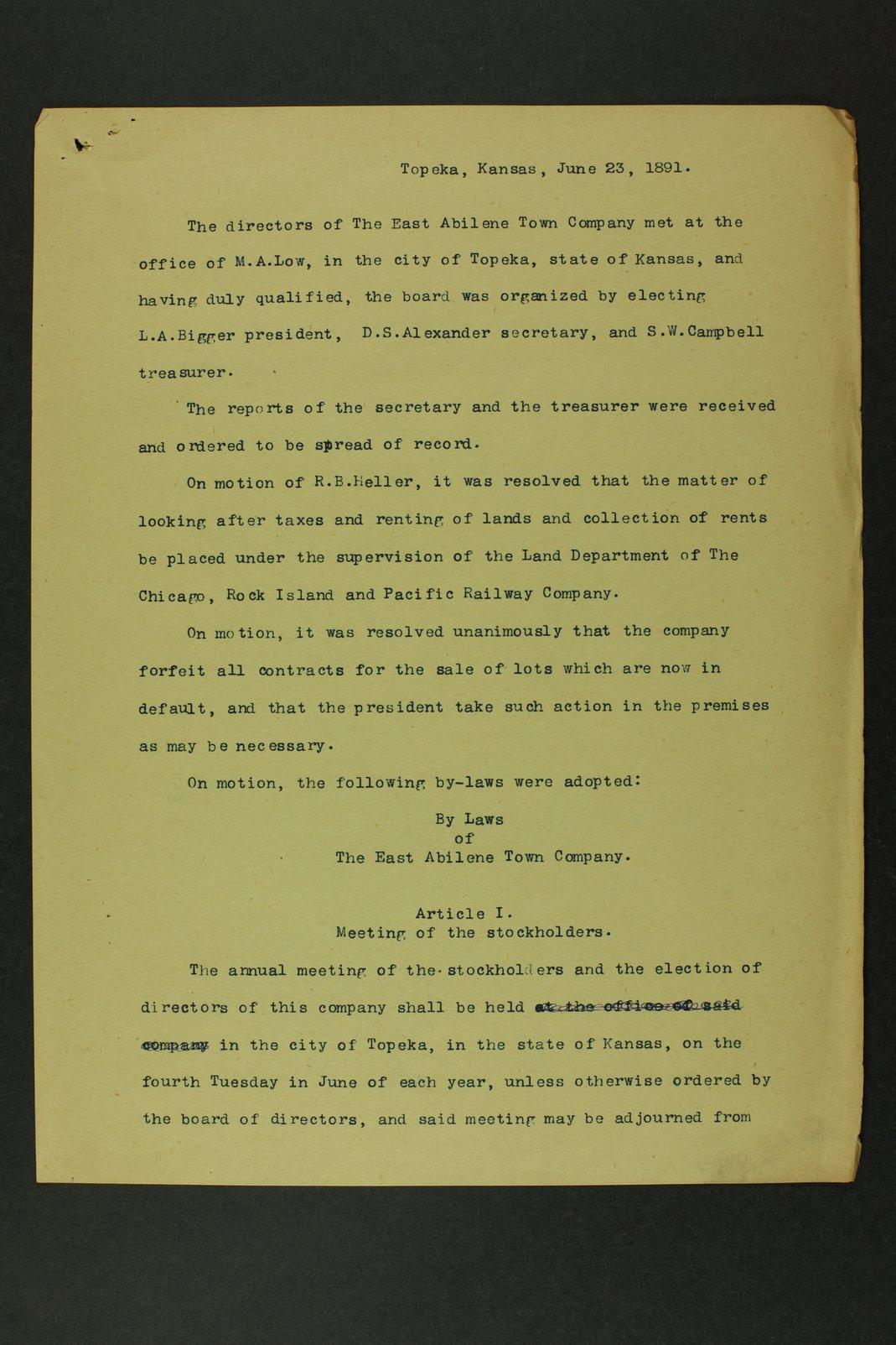 East Abilene Town Company records - 3