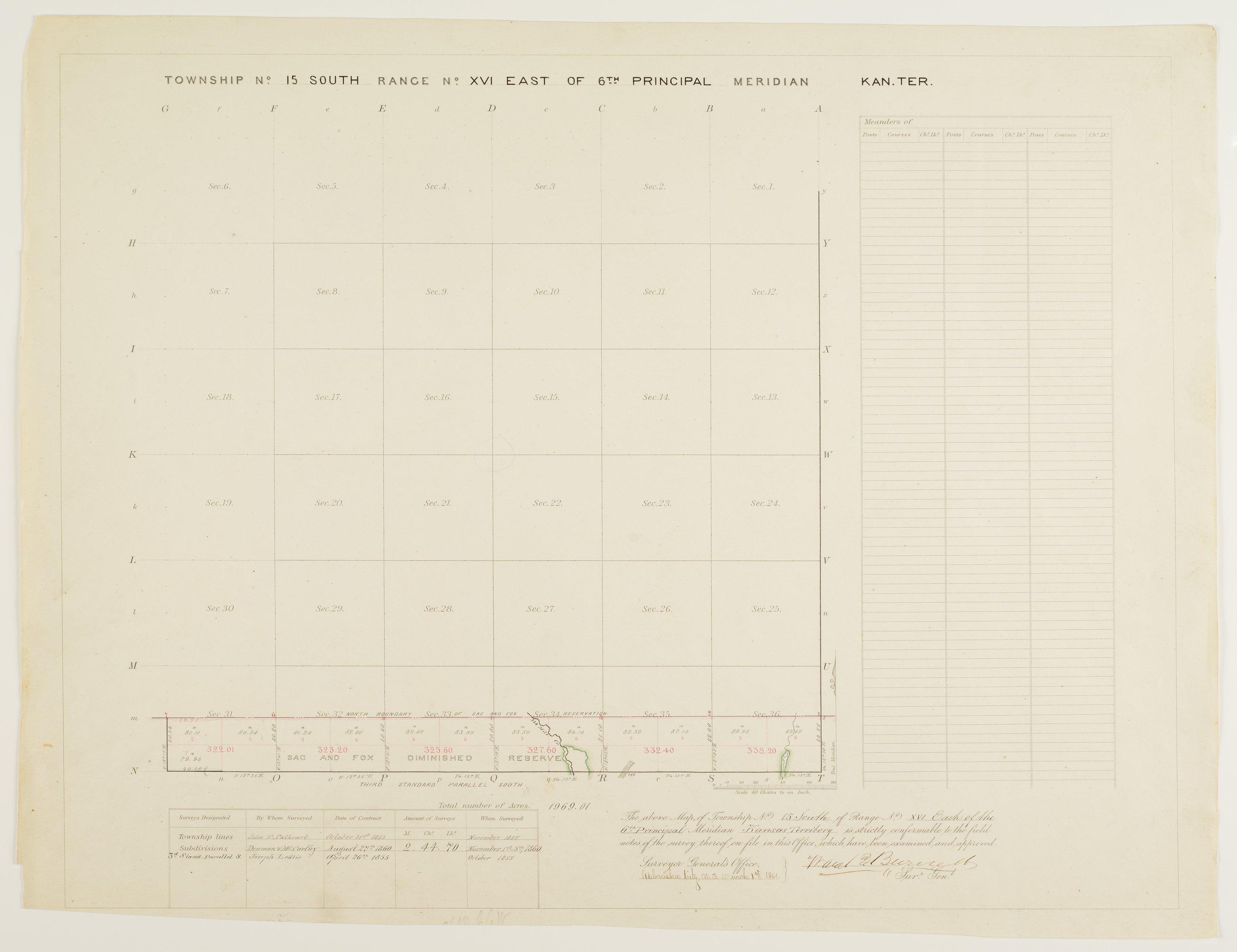 Kansas land survey plats - Township 15 South, Range 16 East