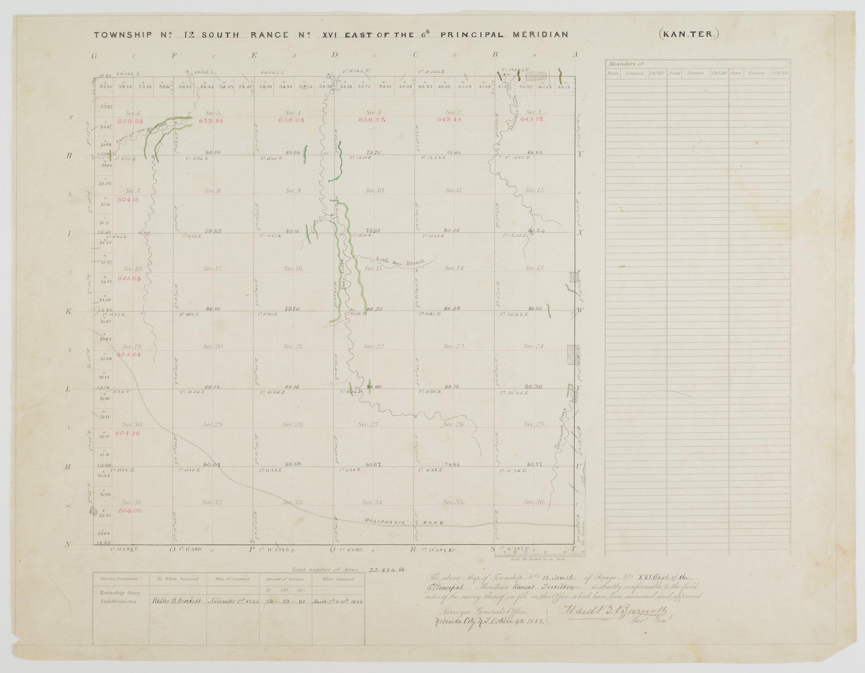 Kansas land survey plats - Township 12 South, Range 16 East