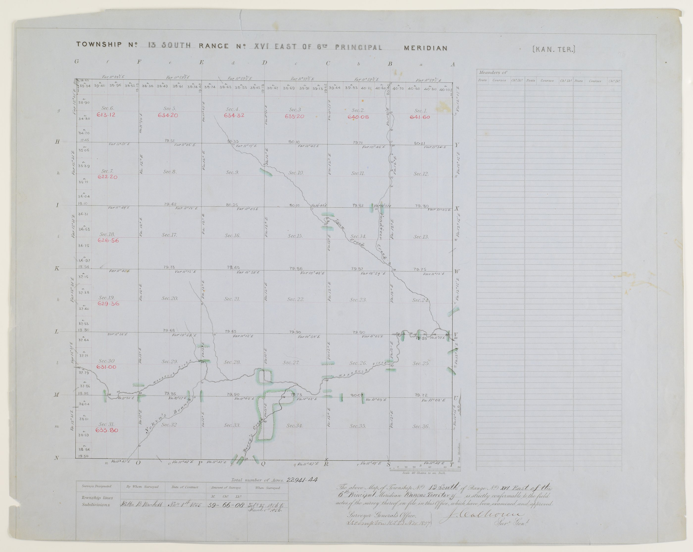 Kansas land survey plats - Township 13 South, Range 16 East