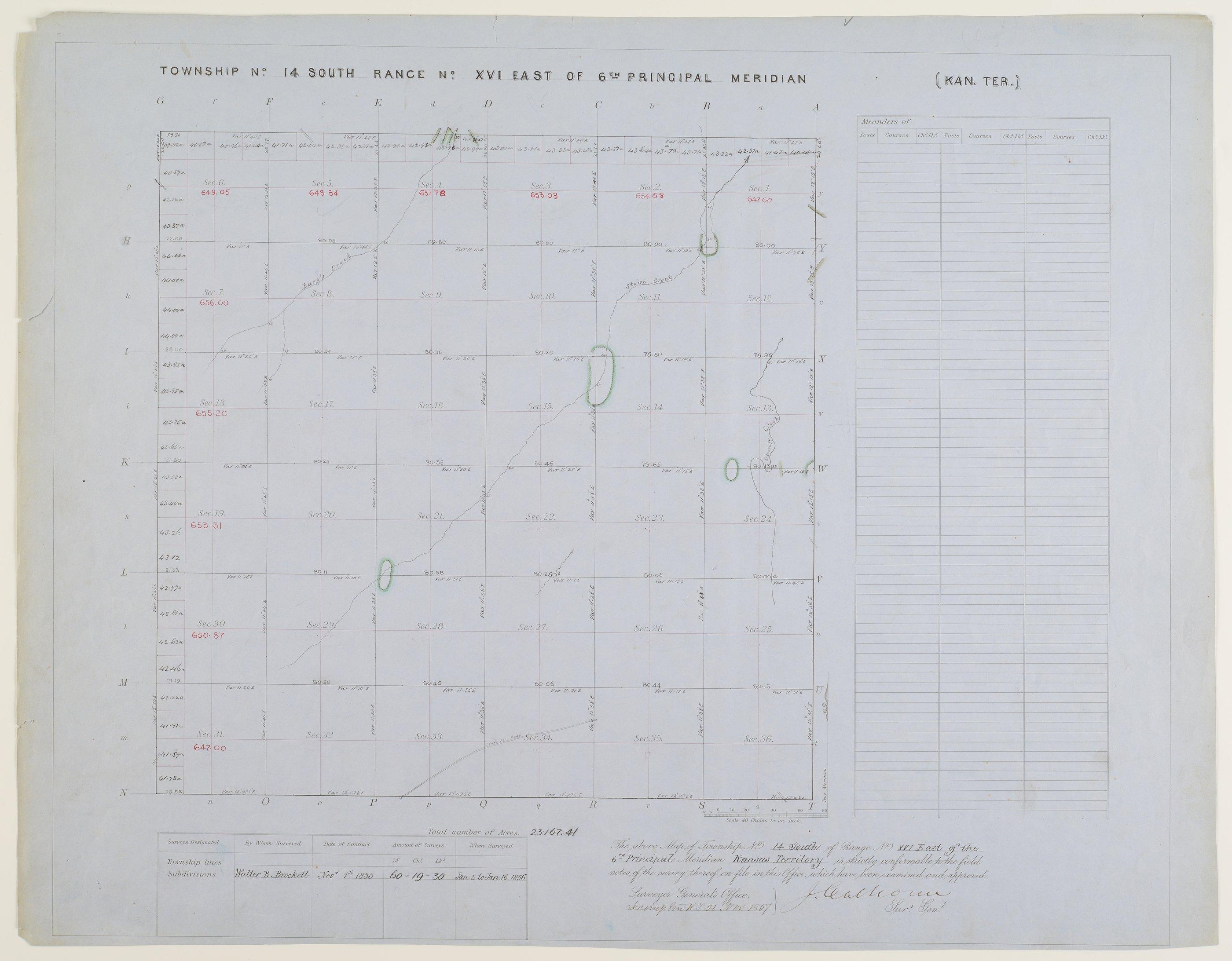 Kansas land survey plats - Township 14 South, Range 16 East