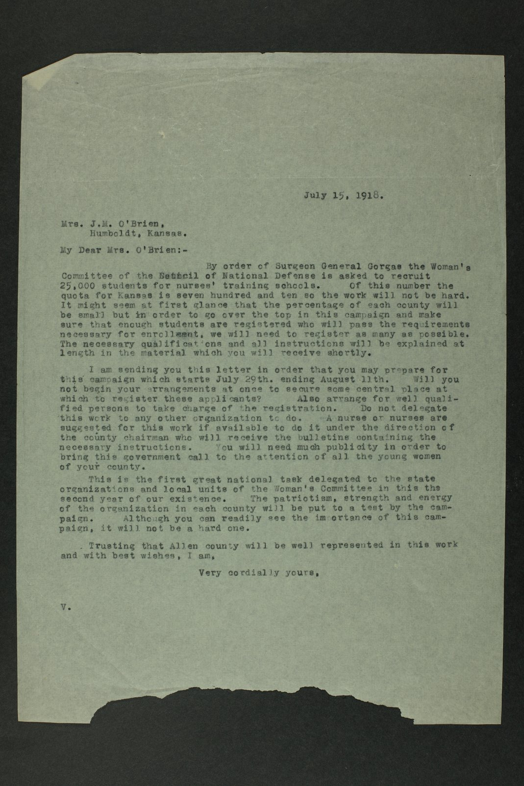 Council of National Defense Woman's Committee correspondence - 1  [Allen County]