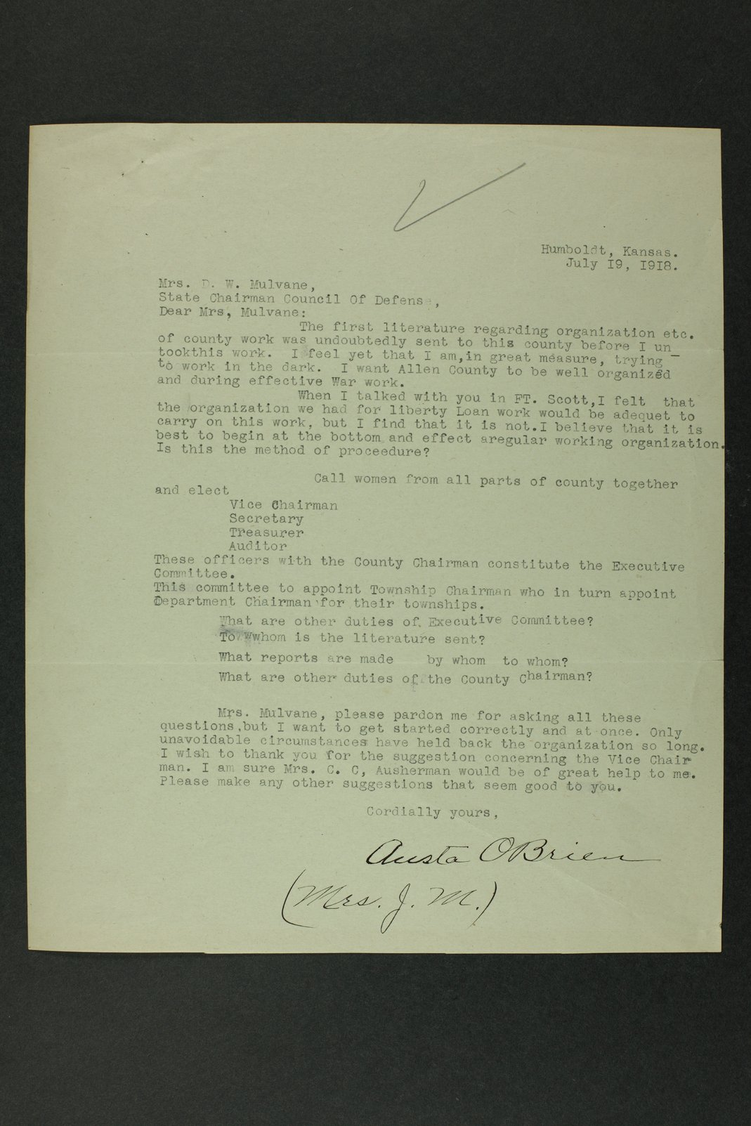 Council of National Defense Woman's Committee correspondence - 2