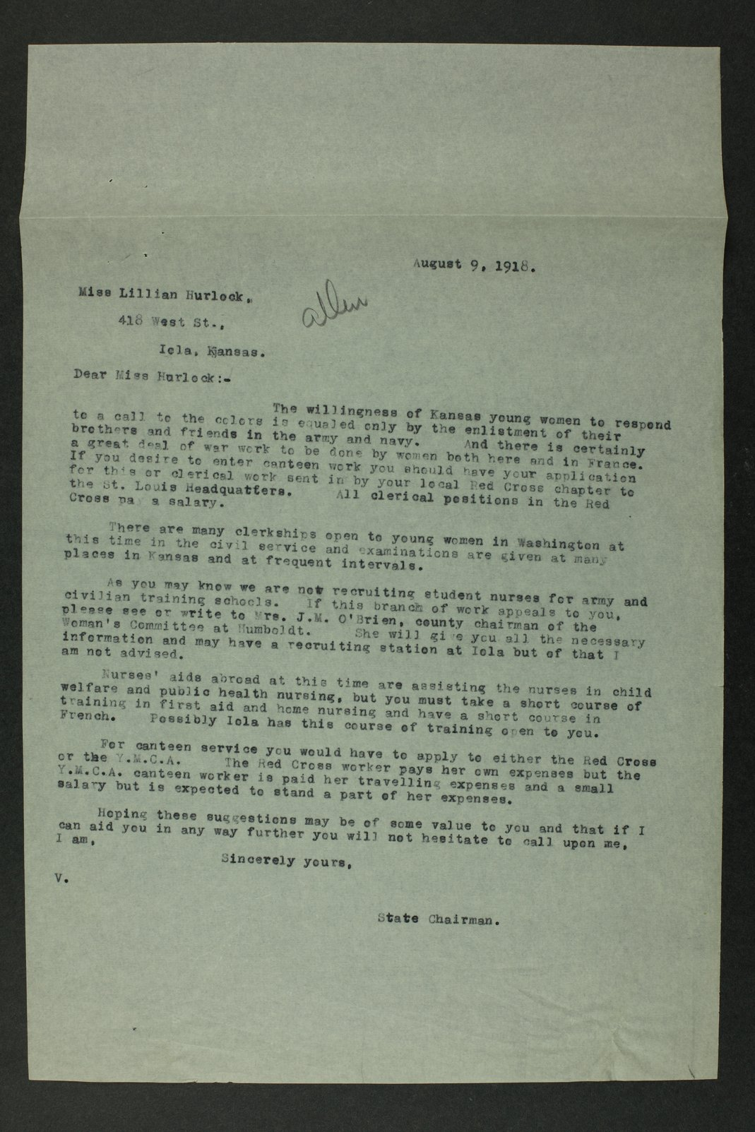 Council of National Defense Woman's Committee correspondence - 5