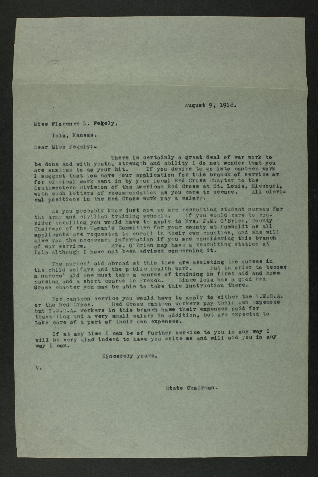 Council of National Defense Woman's Committee correspondence - 6