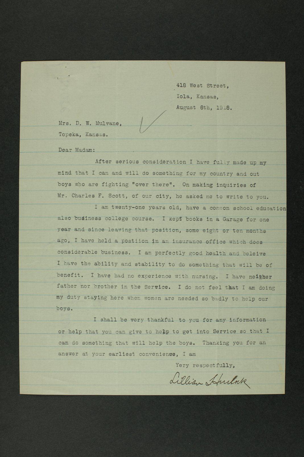 Council of National Defense Woman's Committee correspondence - 8