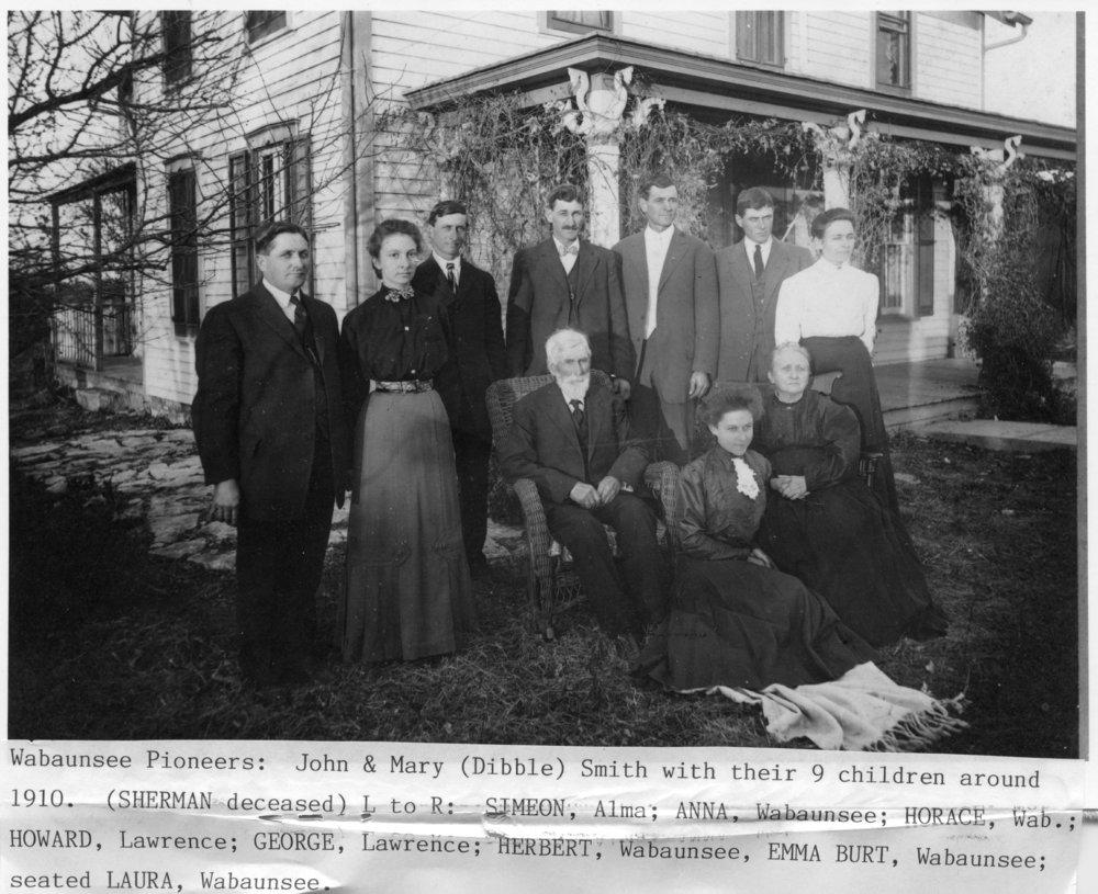 John and Mary Dibble Smith family in Wabaunsee, Kansas - 1