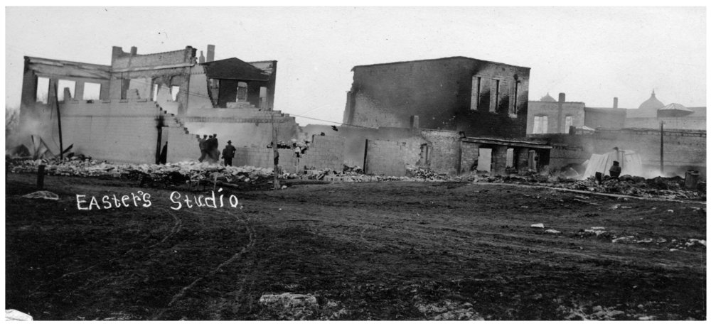 Main Street after fire in Eskridge, Kansas - 1