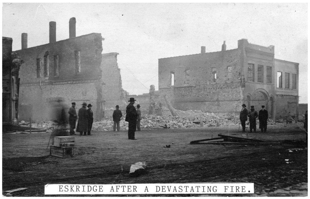 Main Street after fire in Eskridge, Kansas - 2