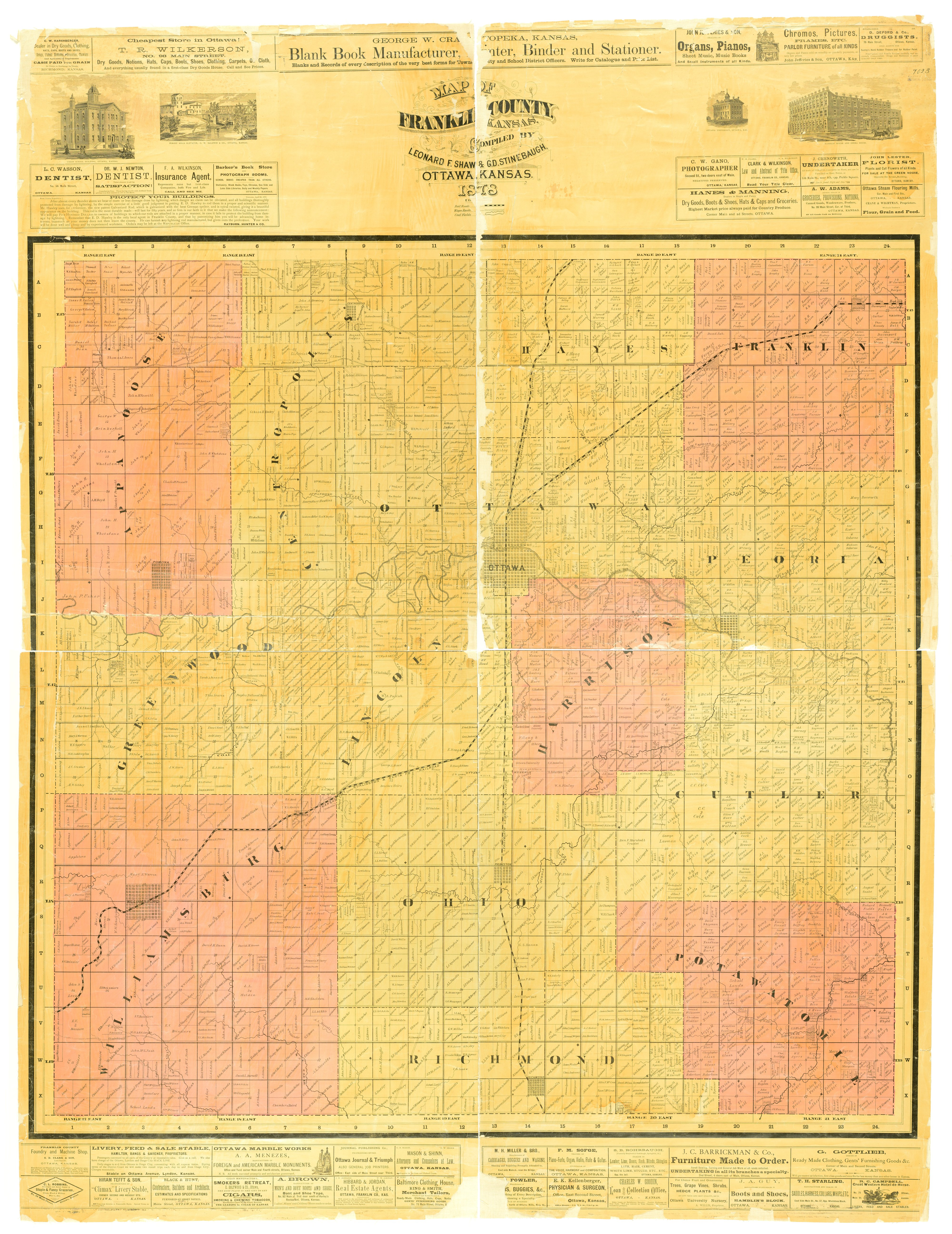 Map of Franklin County, Kansas / compiled by Leonard F. Shaw & G. D. Stinebaugh - 1
