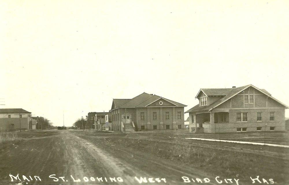 Main Street looking west in Bird city, Kansas