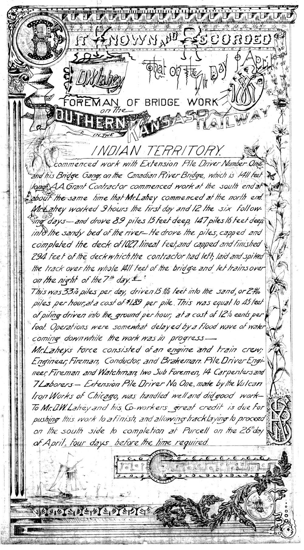 South Canadian River Bridge commendation letter