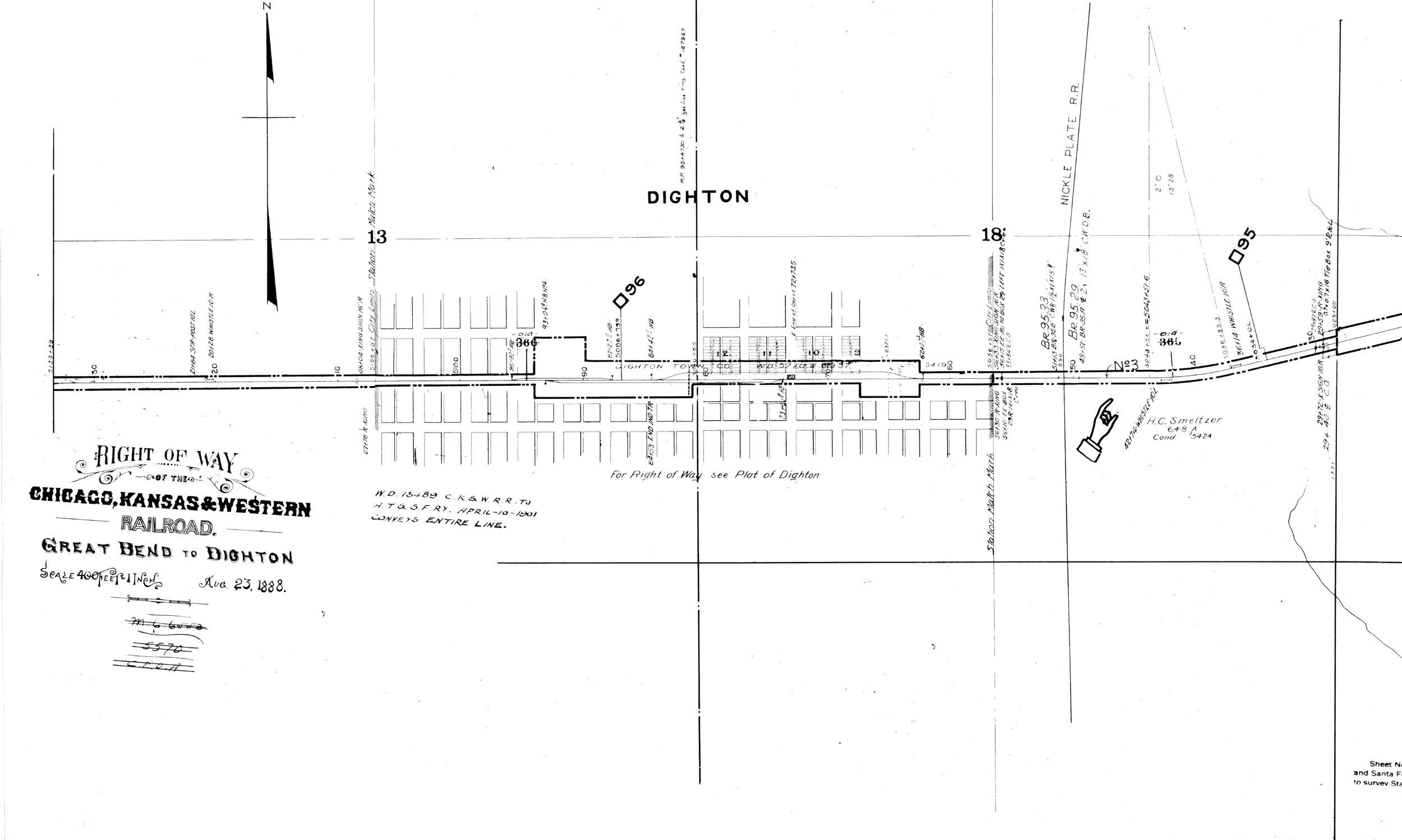 Right of way map through Dighton, Kansas